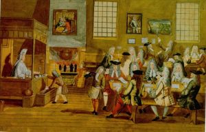 Early 18th century London coffeehouse, internet chatrooms of the day